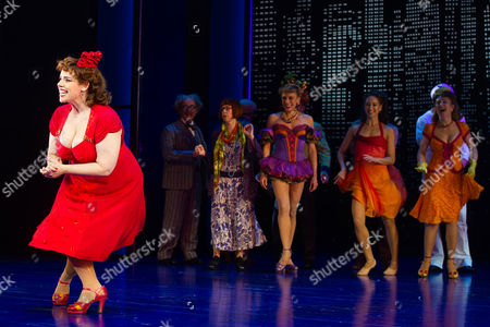 """Alysha Umphress appears at the curtain call for """"On The Town"""" at the Lyric Theatre, in New York"""