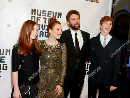 Liv Freundlich, from left, Julianne Moore, Bart Freundlich and Caleb Freundlich attend the Museum Of The Moving Image Salute to Julianne Moore at 583 Park, in New York