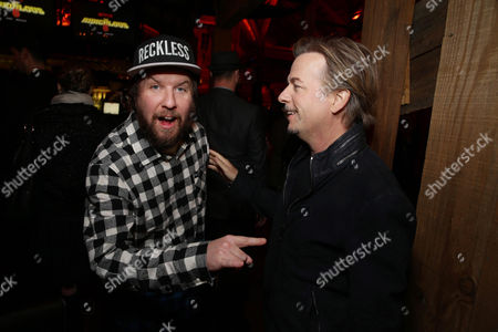 Exclusive - Nick Swardson and David Spade seen at Netflix Premiere of 'The Ridiculous 6' at Universal City Walk AMC, in Universal City, CA