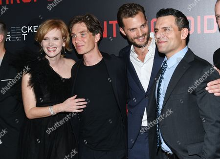 """Actress Ana Geislerova, left, actor Cillian Murphy, actor Jamie Dornan and producer Pete Shilaimon attend the premiere of """"Anthropoid"""" at AMC Loews Lincoln Square, in New York"""