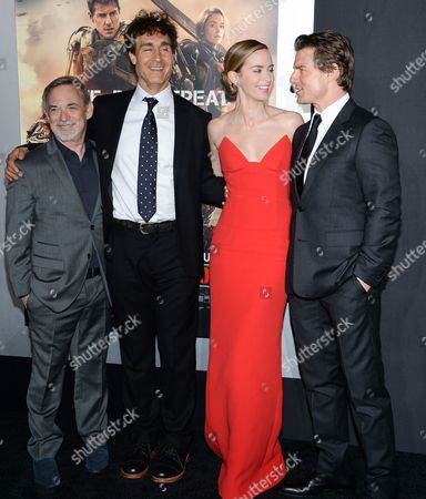 """Producer Erwin Stoff, left, director Doug Liman, actress Emily Blunt and actor Tom Cruise attend a special premiere of """"Edge of Tomorrow"""" at the AMC Loews, in New York. New York is the final stop on a three country, three premiere in one day fan premiere tour"""