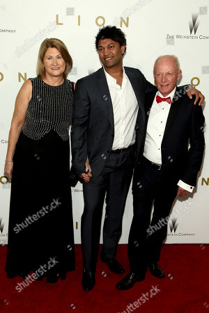 """Sue Brierley, from left, Saroo Brierley and John Brierley attend the premiere of """"Lion"""" at the Museum of Modern Art, in New York"""