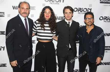 """Director Nick Sandow left, producer Lizzie Nastro, actor Vincent Piazza and producer Mike Gasparro attend the premiere of """"The Wannabe"""" at the Crosby Street Hotel, in New York"""
