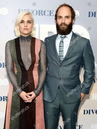 """Katja Blichfeld, left, and Ben Sinclair, right, attend the premiere of HBO's """"Divorce"""" at the SVA Theatre, in New York"""