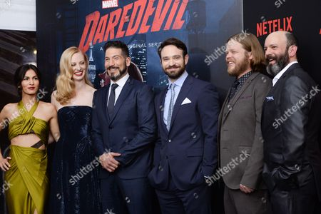 "Cast members, from left, Elodie Yung, Deborah Ann Woll, Jon Bernthal, Charlie Cox, Elden Henson and Geoffrey Cantor attend the premiere of Netflix's Original Series Marvel's ""Daredevil"" Season 2 at AMC Lincoln Square, in New York"