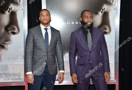 "NFL Football players Dee Milliner, left, and Darrelle Revis attend a special screening of ""Concussion"" at the AMC Loews Lincoln Square, in New York"
