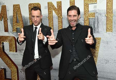 """Billy Slaughter, left, and Clint James attend a special screening of """"The Magnificent Seven"""" at The Museum of Modern Art, in New York"""