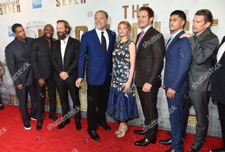"From left, Denzel Washington, Antoine Fuqua, Peter Sarsgaard, Vincent D'Onofrio, Haley Bennett, Chris Pratt, Martin Sensmeier, Ethan Hawke attends a special screening of ""The Magnificent Seven"" at The Museum of Modern Art, in New York"