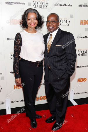"""President and CEO of the Apollo Theater, Jonelle Procope and Billy Mitchell pose for a photo at the special screening of HBO's Documentary """"Whoopi Goldberg presents Moms Mabley"""" at The Apollo Theater on in New York"""