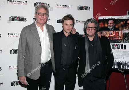 "From left, producer William Teitler, actor Michael Pitt and director Raymond De Felitta attend a screening of ""Rob The Mob"" on in New York"