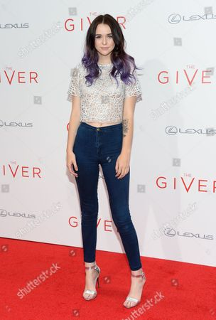 "Acacia Brinley attends the world premiere of ""The Giver"" at the Ziegfeld Theatre, in New York"