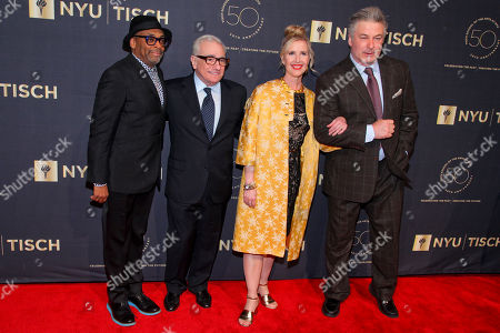 Spike Lee, from left, Martin Scorsese, Allyson Green and Alec Baldwin attend the NYU Tisch School of the Arts 50th Anniversary Gala at Jazz at Lincoln Center Frederick P. Rose Hall, in New York