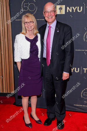 Jennie Hamilton, left, and Andrew Hamilton, right, attend the NYU Tisch School of the Arts 50th Anniversary Gala at Jazz at Lincoln Center's Frederick P. Rose Hall, in New York