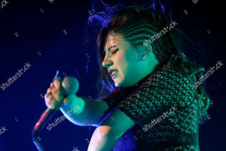 Lead singer Chloe Chaidez performs with Kitten as they open for Paramore during a concert at Hammerstein Ballroom, in New York