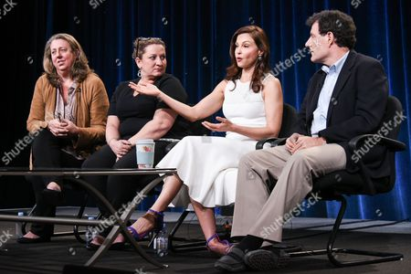 """Stock Picture of From left, Maro Chermayeff, Shana Goodwin, Ashley Judd and Nicholas Kristof speak on stage during the Independent Lens """"A Path Appears"""" panel at the PBS 2015 Winter TCA, in Pasadena, Calif"""