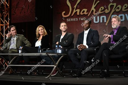 "From left, Producer Stephen Segaller, Kim Cattrall, Joseph Fiennes, David Harewood, and producer Richard Denton speak on stage during the ""Shakespeare Uncovered"" panel at the PBS 2015 Winter TCA, in Pasadena, Calif"