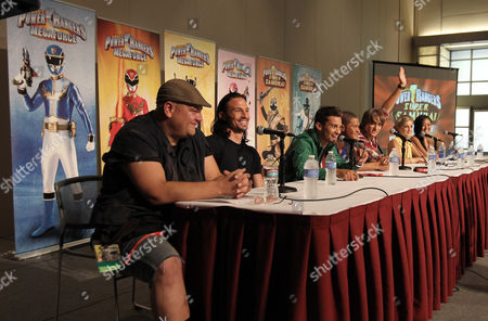 """Stock Photo of From left, the cast of """"Power Rangers Super Samurai"""" Paul Schrier, Rick Medina, Hector David Jr., Najee De-Tiege, Alex Heartman, Brittany Pirtle, and Erika Fong participates in an exclusive Q&A panel at the Power Morphicon Convention 2012, on in Pasadena, Calif"""