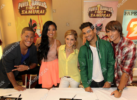 """From left, the cast of """"Power Rangers Super Samurai"""", Najee De-Tiege, Erika Fong, Brittany Pirtle, Hector David Jr., and Alex Heartman, pose together at the Power Morphicon Convention 2012, on in Pasadena, Calif"""