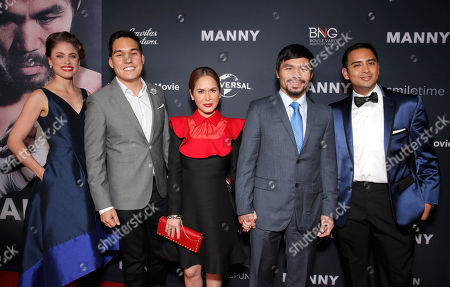 Director Ryan Moore (with wife far left), Jinkee Pacquiao and Manny Pacquiao and producer Jay Bajaj attend the premiere of 'Manny' at TCL Chinese Theatre on in Los Angeles
