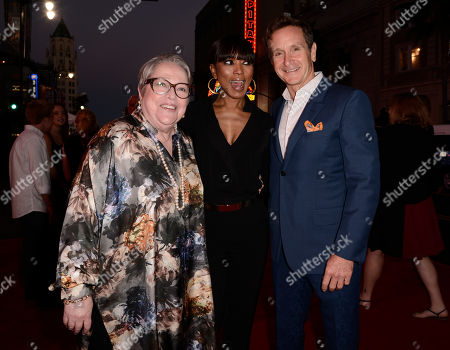 """Kathy Bates, and from left, Angela Bassett and executive producer Dante Di Loreto arrive at the premiere screening of """"American Horror Story: Freak Show"""" at the TCL Chinese Theatre, in Los Angeles"""