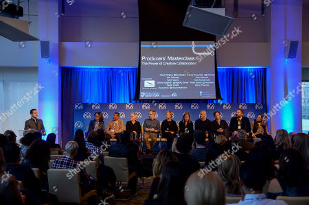 Dave Karger (left), Donna Gigliotti, Wynn Thomas, Sarah Green, Peter Saraf, Anne Carey, Laura Rosenthal, Iain Canning, Hauschka, Todd Komarnicki, and Allyn Stewart seen at Produced By: New York 2016 at the Time Warner Center on Saturday, October 29th, 2016, in New York City, NY