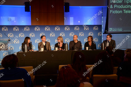 Stock Picture of Glenda Hersh (left), Rob Miller, Mary Donahue, Stephen David, Tiffany Lea Williams, and David George seen at Produced By: New York 2016 at the Time Warner Center on Saturday, October 29th, 2016, in New York City, NY