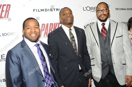 """Stock Image of NFL Football players Alfred Morris, left, Stephen Hill and William Beatty attend a special screening of """"Parker"""" hosted by The Cinema Society at the Museum of Modern Art on in New York"""