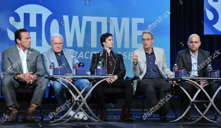 "From left, Executive Producer/Correspondent Arnold Schwarzenegger, Executive Producer Jerry Weintraub, Correspondent Ian Somerhalder, Executive Producer David Gelber and Executive Producer/Climate Expert Daniel Abbasi participate in the ""Years of Living Dangerously"" panel discussion at the Showtime Winter 2014 TCA Press Tour on in Pasadena, Calif"