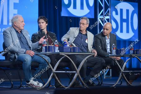 "From left, Executive Producer Jerry Weintraub, Correspondent Ian Somerhalder, Executive Producer David Gelber and Executive Producer/Climate Expert Daniel Abbasi participate in the ""Years of Living Dangerously"" panel discussion at the Showtime Winter 2014 TCA Press Tour on in Pasadena, Calif"