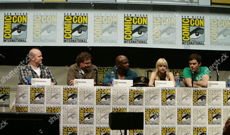 Director Cody Cameron, Director Kris Pearn, Terry Crews, Anna Faris and Bill Hader seen at Sony Pictures Presentation at 2013 Comic-Con, on Friday, July, 19, 2013 in San Diego, Calif