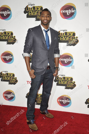 Olympic swimmer Cullen Jones arrives at the Soul Train Awards at Planet Hollywood Resort and Casino, in Las Vegas