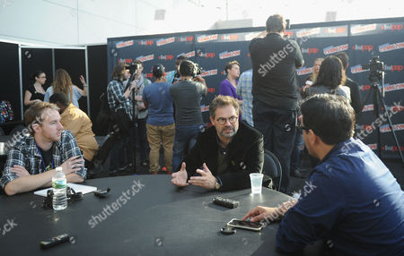 Dana Gould speaks during an interview at the Stan Against Evil NY Comic Con Panel at Javits Center, in New York