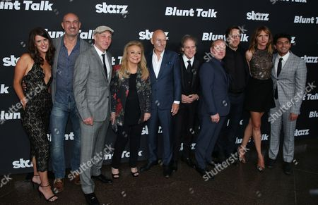 """Mary Holland, and from left, Daniel Stewart, Jonathan Ames, Jacki Weaver, Patrick Stewart, Richard Lewis, Adrian Scarborough, Timm Sharp, Dolly Wells, and Karan Soni arrive at the Los Angeles premiere of """"Blunt Talk"""" presented by Starz at the DGA Theater, in Los Angeles"""