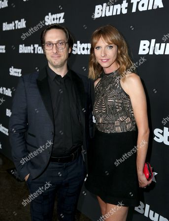 """Timm Sharp, left, and Dolly Wells arrive at the Los Angeles premiere of """"Blunt Talk"""" presented by Starz at the DGA Theater, in Los Angeles"""