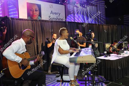 Avery Sunshine performs during the Steve Harvey Morning Show live broadcast at the Georgia World Congress Center, in Atlanta