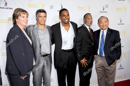 Ilyanne Morden Kichaven, Hollywood Executive Director, SAG-AFTRA, and form left, Esai Morales, Jason George, Mathis Dunn, SAG-AFTRA Associate National Executive Director and Clyde Kusatsu seen at the Television Academy's 66th Emmy Awards Dynamic and Diverse Nominee Reception at the Television Academy, in the NoHo Arts District in Los Angeles