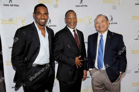 Jason George and from left, SAG-AFTRA Associate National Executive Director Mathis Dunn and Clyde Kusatsu seen at the Television Academy's 66th Emmy Awards Dynamic and Diverse Nominee Reception at the Television Academy, in the NoHo Arts District in Los Angeles