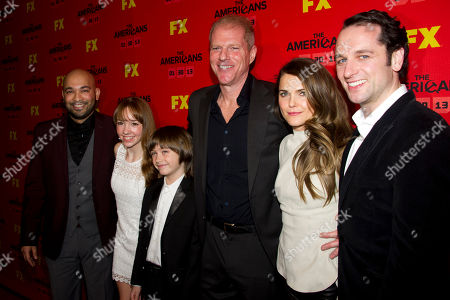 """Maximiliano Hernandez, from left, Paige Jennings, Keidrich Sellati, Noah Emmerich, Keri Russell and Matthew Rhys attend the premiere of the FX television series """"The Americans"""" on in New York"""