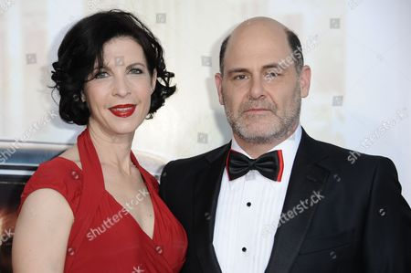 """Linda Brettler, left, and Matthew Weiner arrive at The Black And Red Ball In Celebration Of The Final Seven Episodes Of """"Mad Men"""", in Los Angeles"""