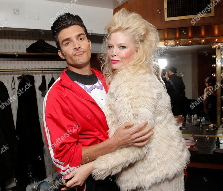 Peter Porte and Melissa Peterman backstage at the National Breast Cancer Coalition Fund's 13th Annual Les Girls on in Hollywood, Calif