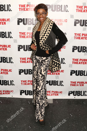 """Adriane Lenox attends the opening night celebration of """"Eclipsed"""" at The Public Theater, in New York"""