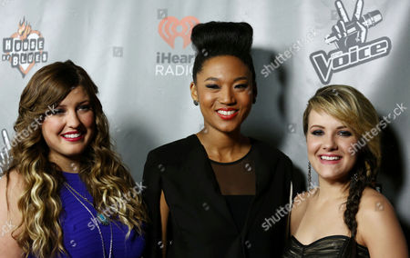 "Sarah Simmons, left, Judith Hill, center, Amber Carrington pose from Team Adam pose together at ""The Voice"" season 4 red carpet event at the House of Blues on in Los Angeles"