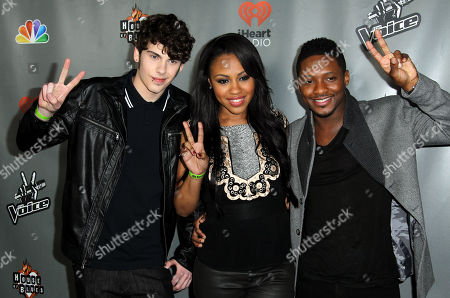 """Garrett Gardner, left, Sasha Allen, center, and Kris Thomas from Team Shakira pose together at """"The Voice"""" season 4 red carpet event at the House of Blues on in Los Angeles"""