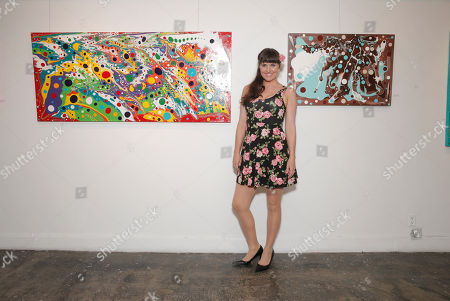 Stock Image of Andrea Fellers attends the This Way & That Art Exhibit at Seyhoun Gallery on Friday, August 22, in Los Angeles
