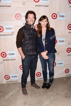 Actress Jennifer Garner, right, and TOMS Founder Blake Mycoskie attends the celebration for the TOMS for Target holiday partnership at The BookBindery on in Culver City, Calif
