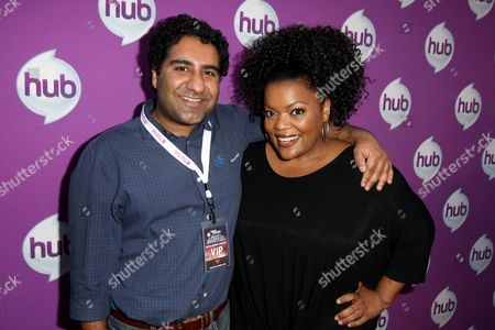 """Actors Parvesh Cheena, left, and Yvette Nicole Brown arrive at The Hub's """"Transformers Prime Beast Hunters"""" World Premiere Screening Event on in Universal City, Calf"""