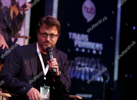 "Steve Blum, the voice of Starscream, speaks at The Hub's ""Transformers Prime Beast Hunters"" World Premiere Screening Event on in Universal City, Calf"