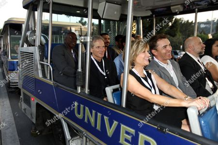 """Actors Ernie Hudson, left, James Horan, center, and Markie Post are seen headed to Transformers: The Ride 3D at Universal Studios at The Hub's """"Transformers Prime Beast Hunters"""" World Premiere Screening Event on in Universal City, Calf"""