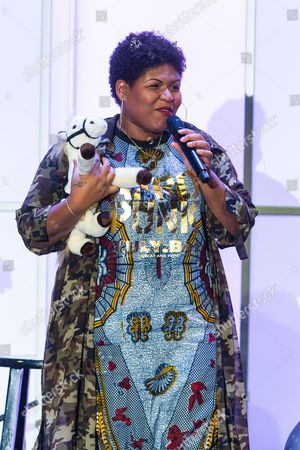 Stacy Barthe on stage during the Voices on Point Gala at the Hyatt Regency Century City on in Los Angeles