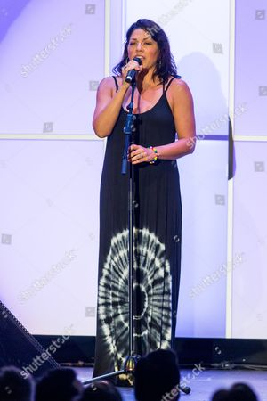 Sara Ramirez performs on stage during the Voices on Point Gala at the Hyatt Regency Century City on in Los Angeles
